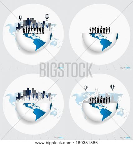 Globe and building with businessman, can use for business concept. Vector illustration.
