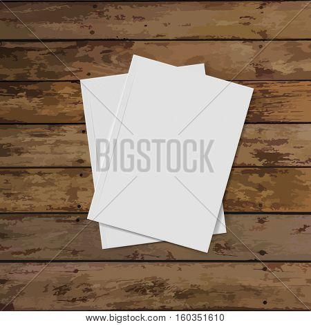Blank catalog, magazines,book mock up on wood background. Vector illustration.