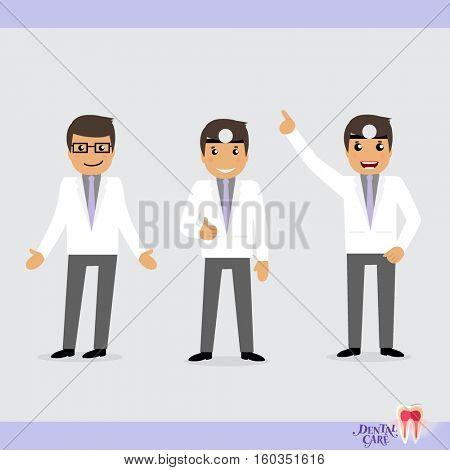 Set of characters Cartoon Dentist in various activities. Vector illustration.
