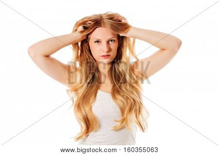 Beautiful young woman with gorgeous hairstyle.