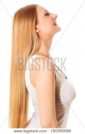 Blond hair. Beautiful woman with straight long hair.
