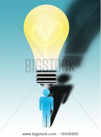 Whats the big idea? A large bulb sits above a figures head.
