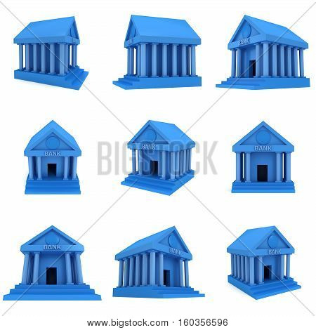 Blue Bank building. 3D render icon isolated on white. Finance and credit concept set.