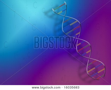 A blue-purple background with DNA strand and genetic code