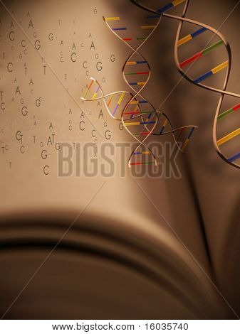 This elegant image represents Genetics: The Book of Life.  DNA strands and genetic code emerge from a book