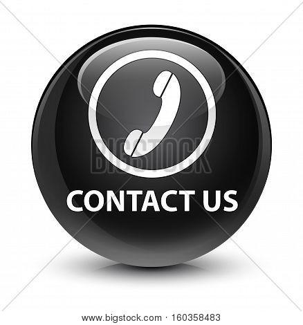 Contact Us (phone Icon Round Border) Glassy Black Round Button