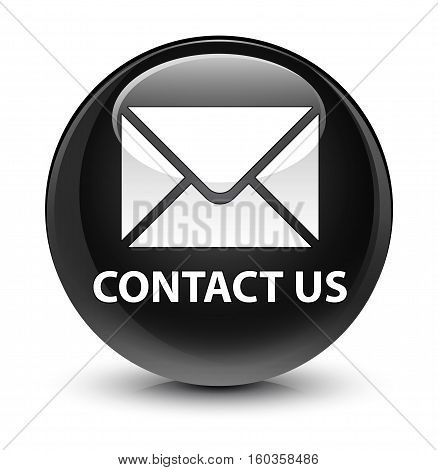 Contact Us (email Icon) Glassy Black Round Button