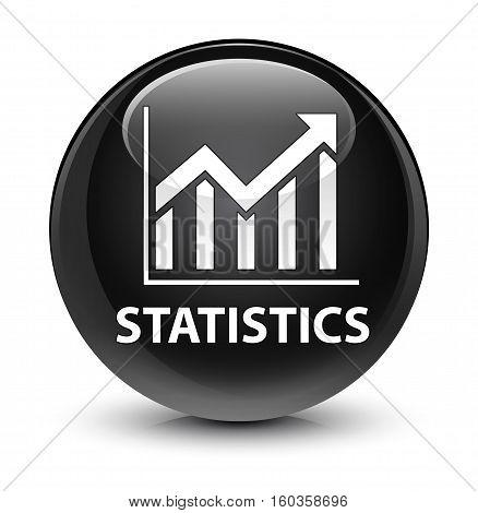 Statistics Glassy Black Round Button