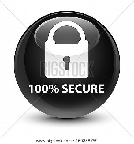 100% Secure Glassy Black Round Button