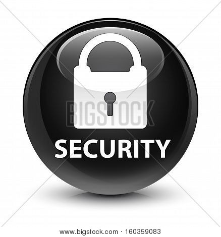 Security (padlock Icon) Glassy Black Round Button