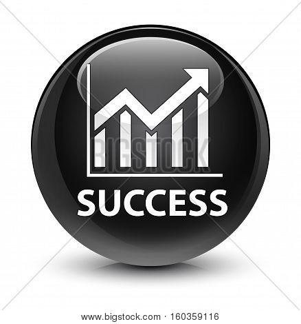 Success (statistics Icon) Glassy Black Round Button