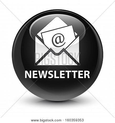 Newsletter Glassy Black Round Button