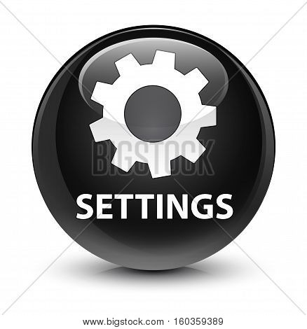Settings Glassy Black Round Button