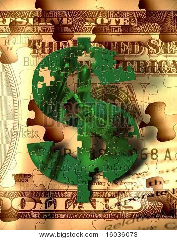 A green puzzle piece $ sign hangs over sepia toned puzzle piece bills with words representative of stock market and other money making endeavors