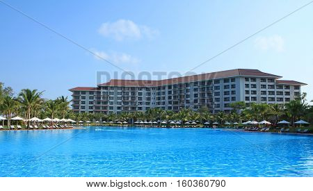 Phu Quoc, Vietnam - Apr 5, 2015: View of Vinpearl Phu Quoc resort, a project by Vingroup corporation, in Phu Quoc island. Phu Quoc is one of the world's most beautiful beaches.