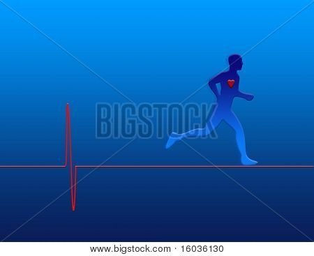 A jogging figure upon a representation of a heart monitor graph
