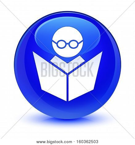 Elearning icon isolated on abstract glassy blue round button