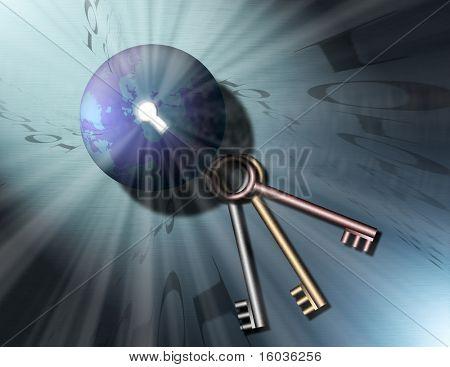 A globe of the earth has a key hole, out of the keyhole shine streams of light, binary code swirls into the keyhole. Three keys sit nearby