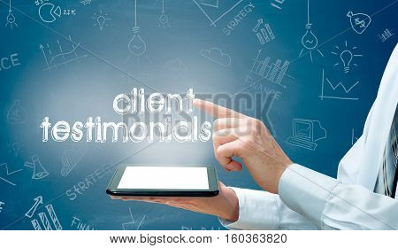 business, technology, internet and networking concept- client testimonials.