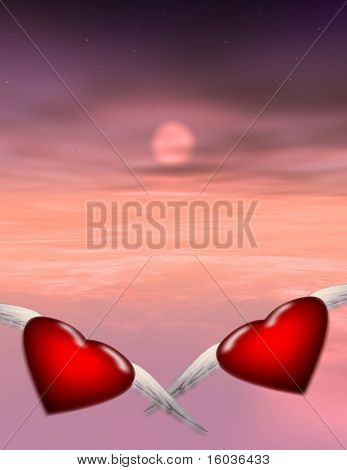 Two winged hearts fly off together into a sunset or sunrise