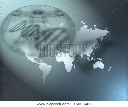 DNA strand, a Davinci like figure shadows and a map of the earth