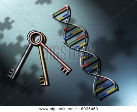 Keys and a strand of DNA upon a surface covered with puzzle piece shadows