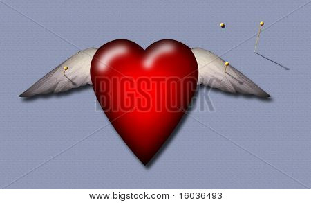 A winged heart is painfully pinned to a surface