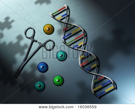 A futuristic image with DNA strand, forceps and irises