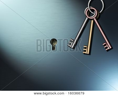 Keys hang near a keyhole within which can be seen US Dollars