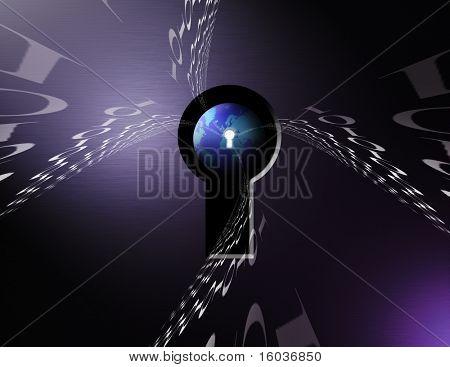 Binary code swirls toward a globe through a keyhole
