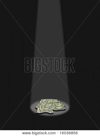 Cash in a spotlight
