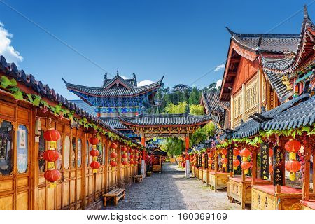 Street Decorated With Traditional Chinese Red Lanterns, Lijiang