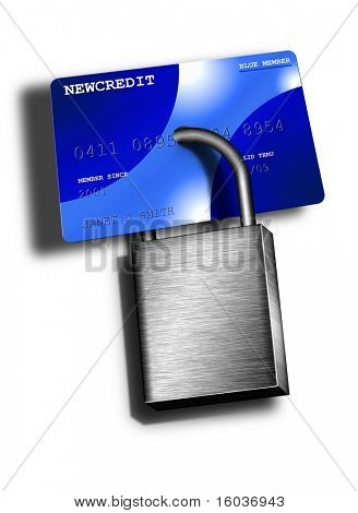 A padlock locks up a credit card