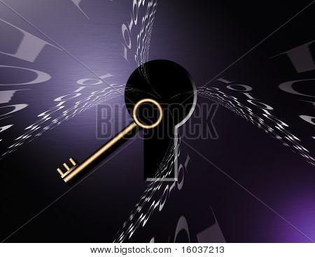 Binary code swirls into keyhole