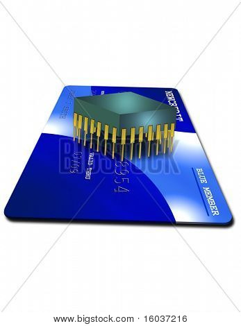 Credit card and silicon chip on white