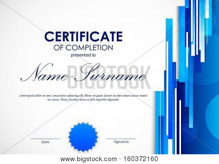 Certificate of completion template with digital blue light straight lines background and seal. Vector illustration