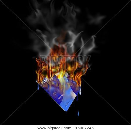 A burning credit card Created entirely in photoshop