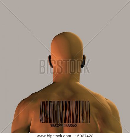 A muscular man with a barcode upon his back