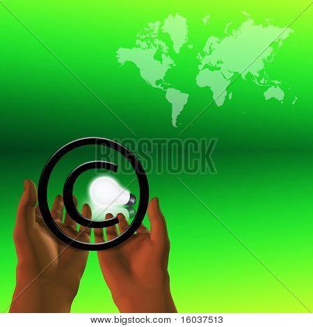 Lightbulb framed by copyright symbol