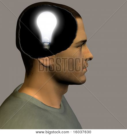 Idea bulb inside head