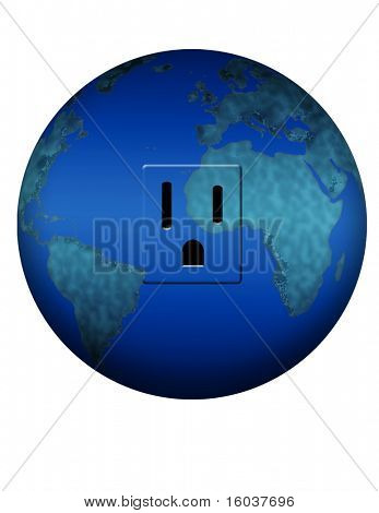 Electrical outlet in the earth on white