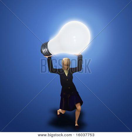 Uma mulher mantém-se uma pesada lâmpada iluminada