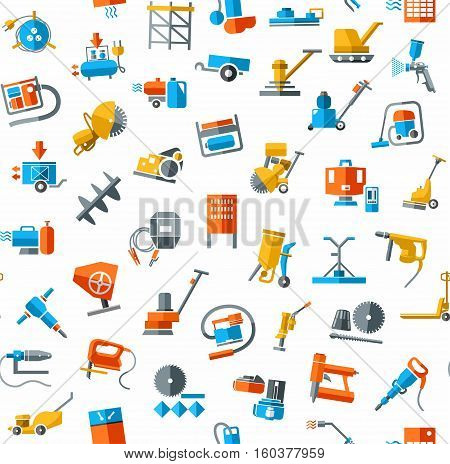Construction equipment and tools, seamless background, white, color. Vector background with images of equipment for construction and repair. Colored, flat pictures on a white field.