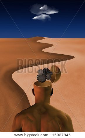 Thinking Man: Inside thinking man's opened mind in desert