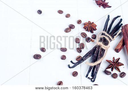 Heap Of Spices Cinnamon Sticks, Vanilla , Coffee Bean And Anise Stars