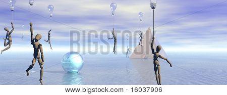 Figuren Float auf Idee Ballons in seltsame Landschaft