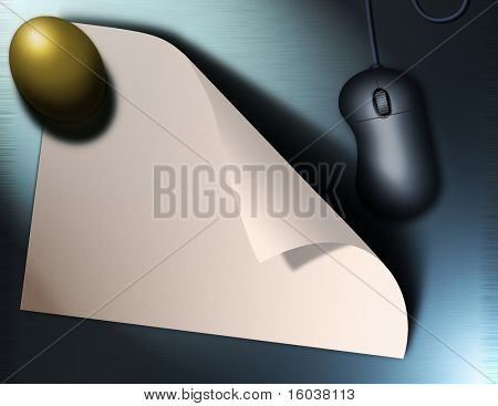 Golden egg, paper and mouse