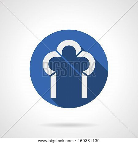 White silhouette of trefoil arch with long shadow. Architecture decoration for building facade, windows, doorways. Construction of arched elements concept. Round blue flat design vector icon.