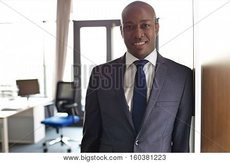 Portrait of smiling young businessman leaning on cupboard in office