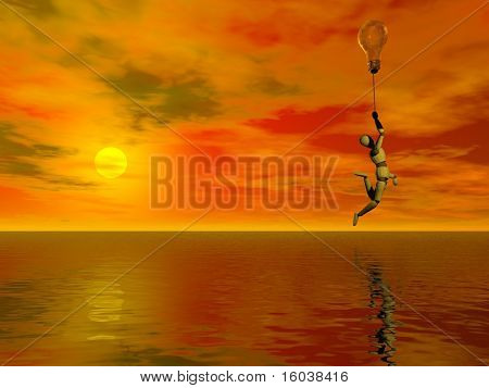 A figure floats about a watery with idea balloon